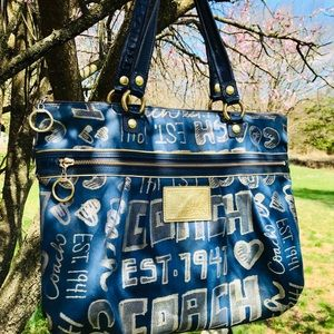 Coach Poppy Story Patch Glam Blue Tote #15301